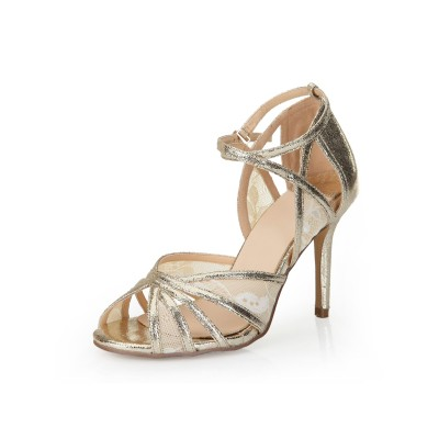 Women's Stiletto Heel Peep Toe Gold Sandals Shoes