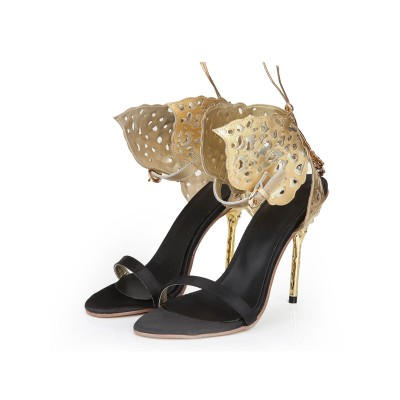 Women's Sheepskin Stiletto Heel Peep Toe With Gold Butterfly Sandals Shoes