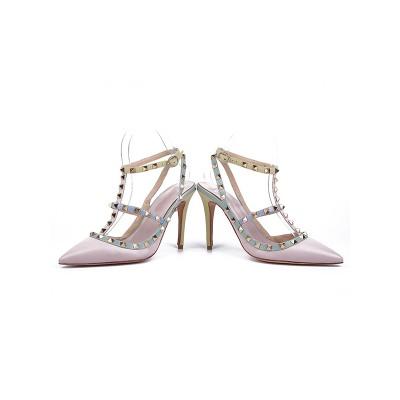 Women's Sheepskin Closed Toe with Rivet Stiletto Heel Pink Sandals Shoes
