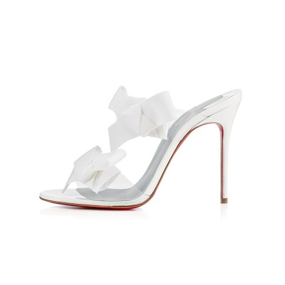 Women's Peep Toe Satin Stiletto Heel With Flower Sandals Shoes