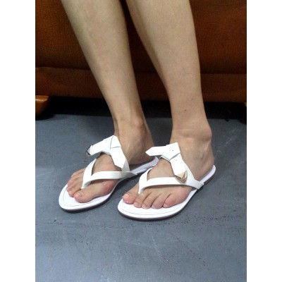 Women's Patent Leather Peep Toe Flats White Sandals Shoes