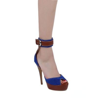 Women's Suede Stiletto Heel Peep Toe With Buckle Platform High Heels