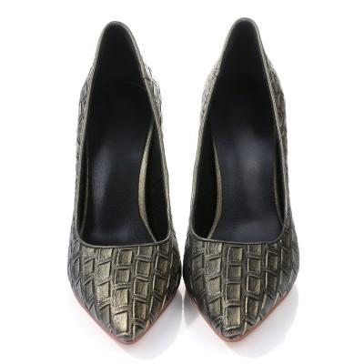 Women's PU Stiletto Heel Closed Toe With Ostrich Pattern High Heels