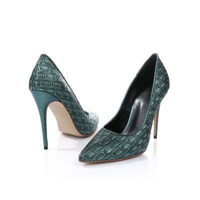 Women's Closed Toe PU With Ostrich Pattern Stiletto Heel High Heels