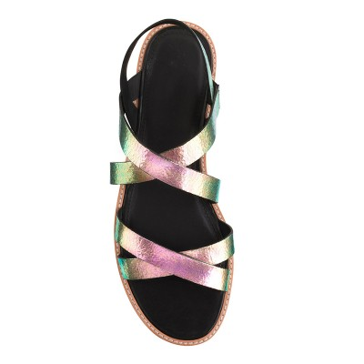 Women's Colorful Flat Heel Sheepskin Peep Toe Sandals Shoes
