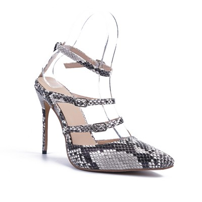 Women's Stiletto Heel Sheepskin Closed Toe With Buckle Party Sandals Shoes