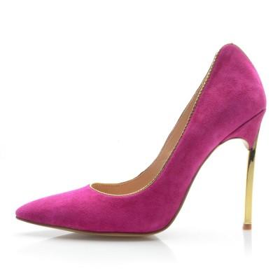 Women's Closed Toe Stiletto Heel Suede High Heels