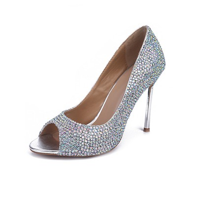 Women's Sheepskin Peep Toe Stiletto Heel With Rhinestone High Heels