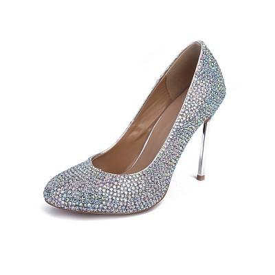 Women's Sheepskin Closed Toe Stiletto Heel With Rhinestone High Heels