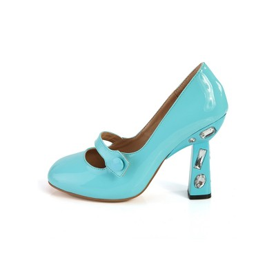 Women's Chunky Heel Closed Toe Patent Leather With Rhinestone High Heels