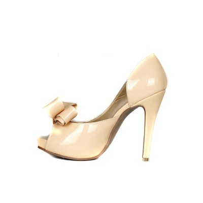 Women's Stiletto Heel Patent Leather Peep Toe Platform With Bowknot High Heels