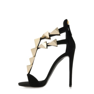 Women's Stiletto Heel Suede Peep Toe Platform With Buckle Sandals Shoes