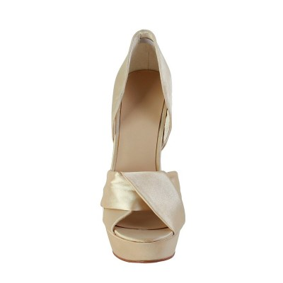 Women's Stiletto Heel Silk Peep Toe Platform Gold Wedding Shoes